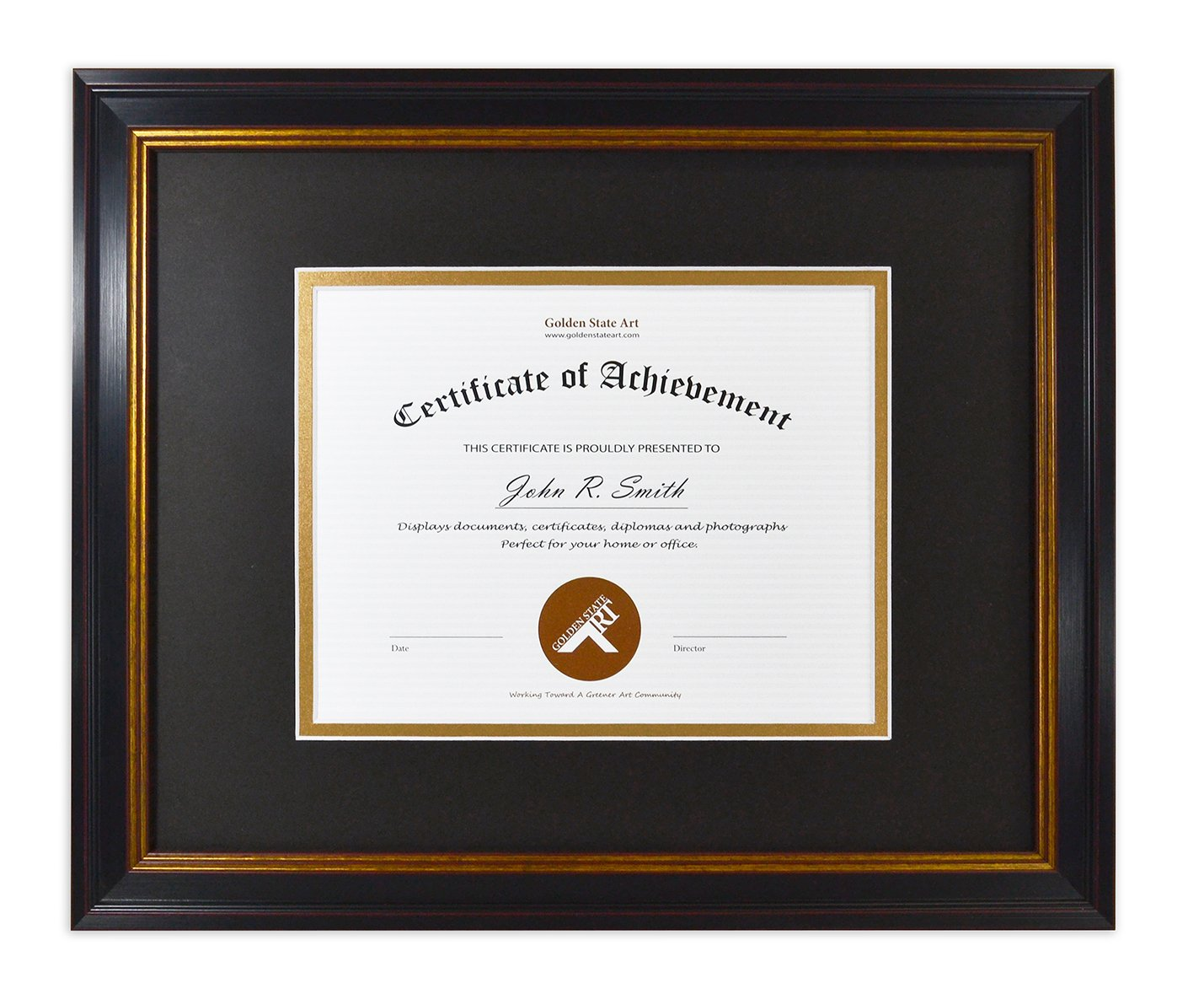 Golden State Art 11x14 Frame for 7x9 Diploma/Certificate, Black Gold & Burgundy color. Includes Black Over Gold Double Mat and Real Glass