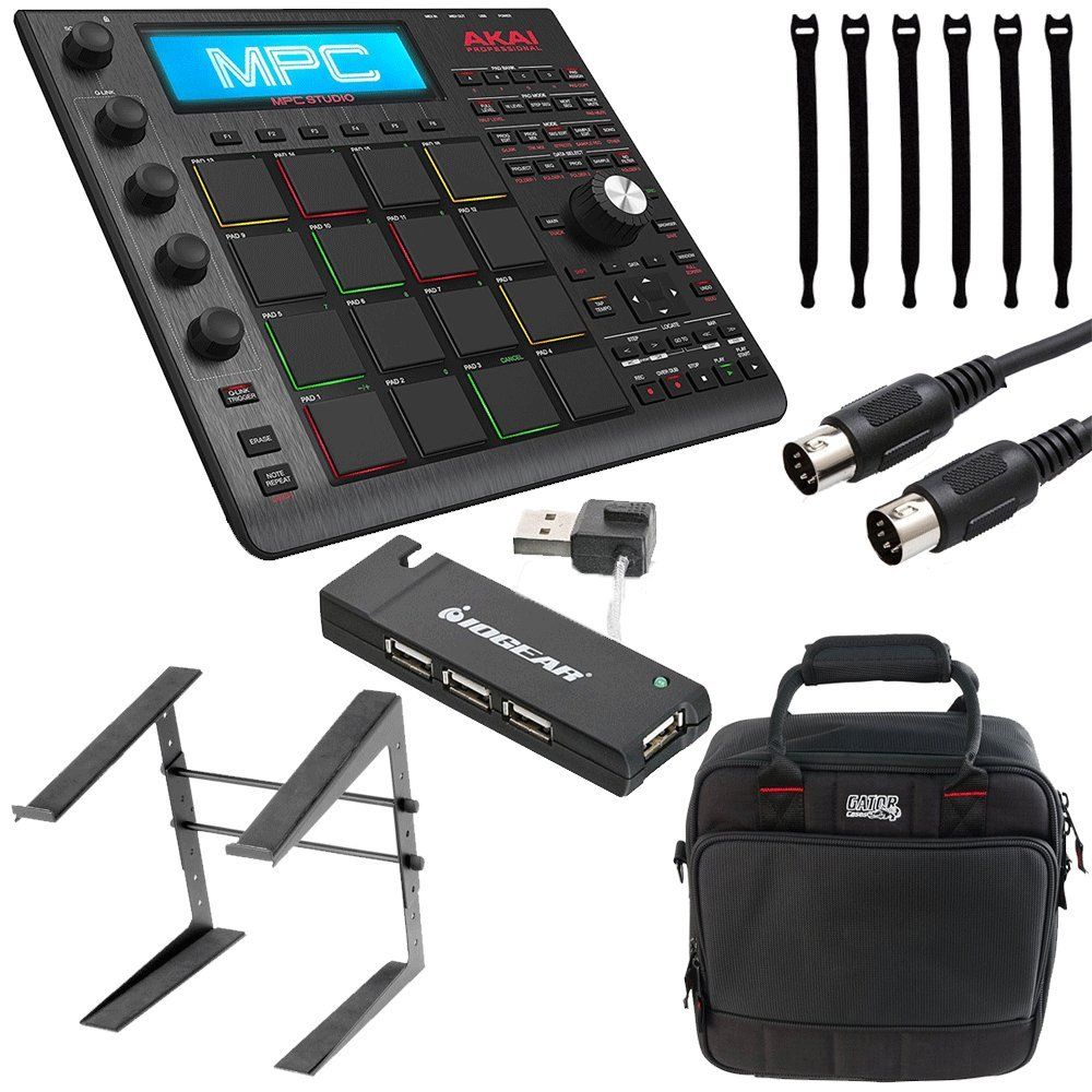 Akai Professional MPC Studio Black Music Production Controller with 7+GB Sound Library Download + Case + Cable + 4-Port USB + Stand + Strapeez - Top Value Akai Professional Accessory Bundle!