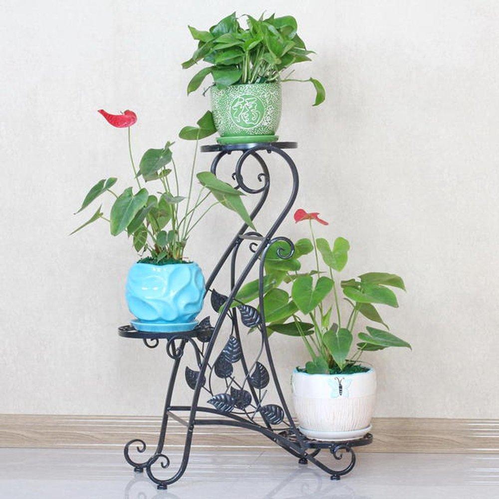 BDS Fiore stile europeo cremagliera in ferro creativo multi-strato di fiori mensola balcone soggiorno pavimento al coperto all'aperto stand fiore, 80cm altezza (colore   Nero)