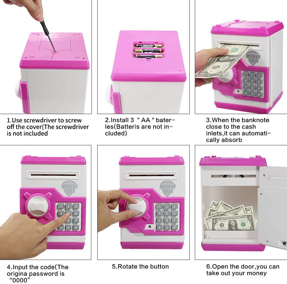 Black//Yellow Suliper Baby Toy for Children Electronic Code Lock Piggy Banks Mini ATM Electronic Coin Bank Box for Kids Birthday Gift