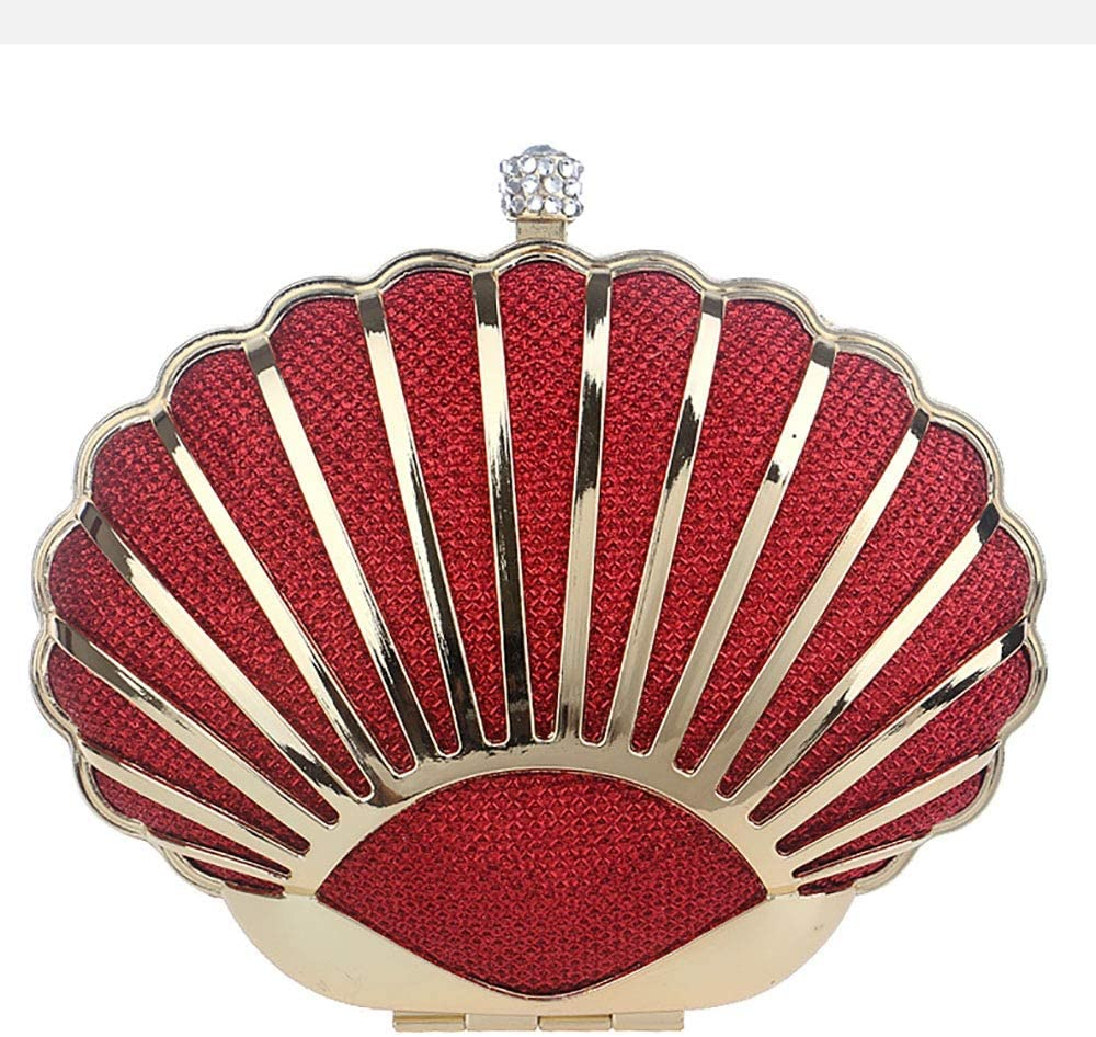 Color : Red, Size : Free Size Techecho Clutch Purse Mini Seashell Purses for Women Shoulder Bags Pearl Chain Evening Purse Frosted Handbag Party