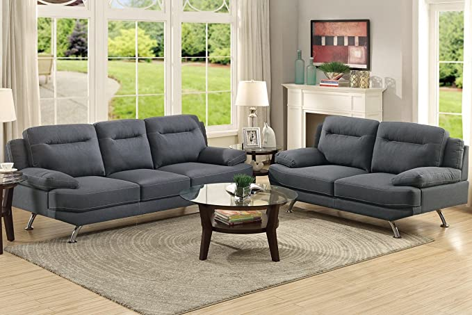 Excellent Amazon Com Poundex F7929 Bobkona Danville Linen Like 2 Theyellowbook Wood Chair Design Ideas Theyellowbookinfo