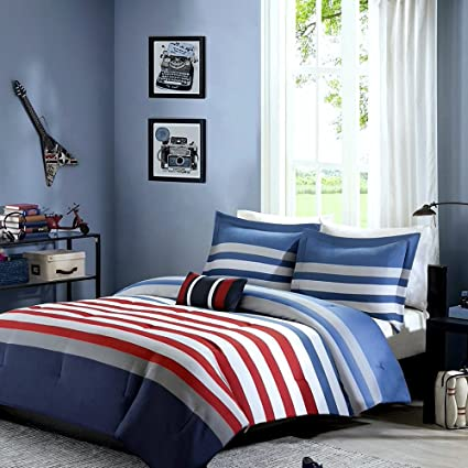 Teen Boys Bedding Comforter Rugby Stripe Nautical TWIN TWIN XL Comforter +  Matching Sham + Decorative