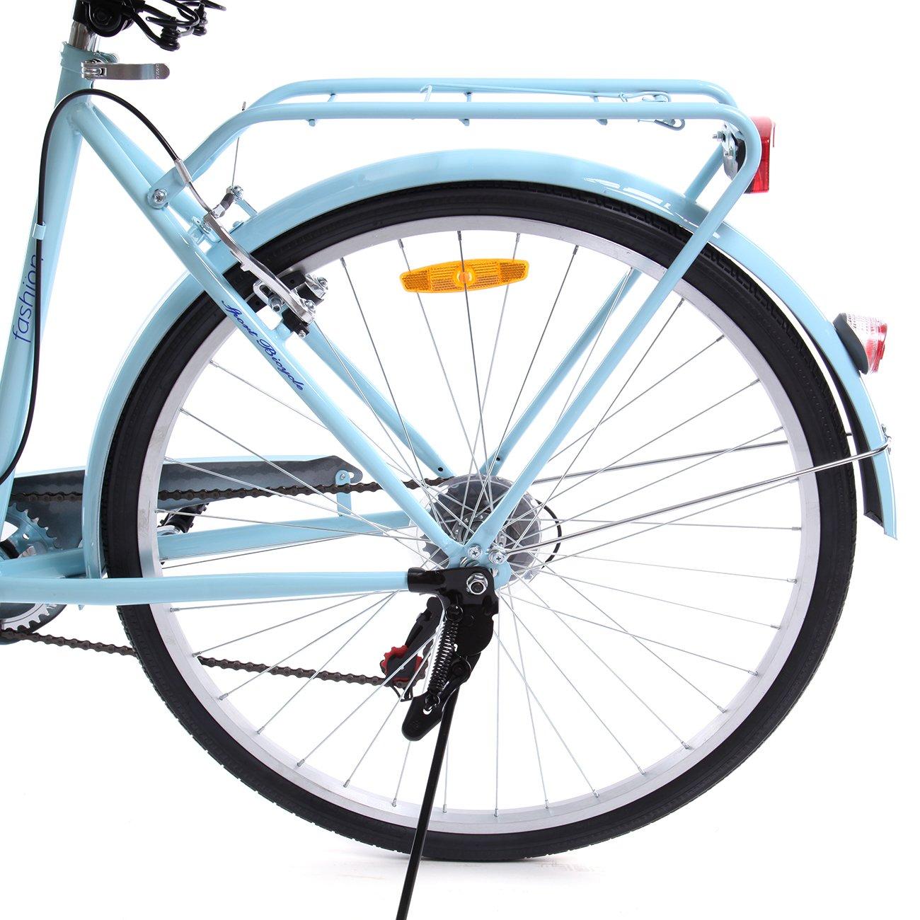 Paneltech 28 Pulgadas 7 Velocidad de Ciudad Bicicleta de Ciudad para Mujer Hombre Paseo Citybike Compras Commute para Bicicleta con luz Delantera y luz ...