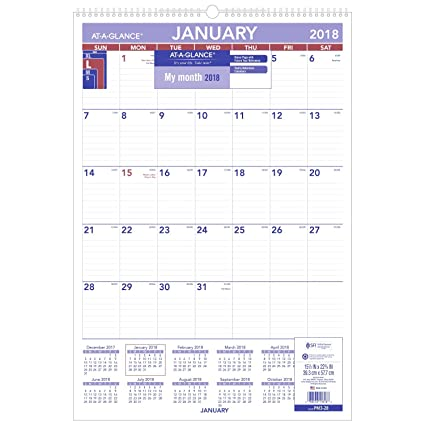 at a glance monthly wall calendar january 2018 december 2018 15