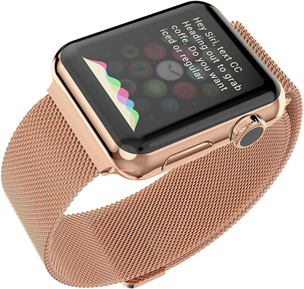 Josi Minea Apple Watch [38mm] Protective Snap-On Case with Built-in Clear Glass Screen Protector - Anti-Scratch & Shockproof Shield Guard Full Cover for Apple Watch Series 2-38mm [ Rose Gold ]