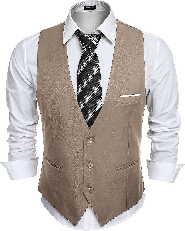 vestibilit/à Regolare JINIDU Casual Gilet da Uomo Slim Fit