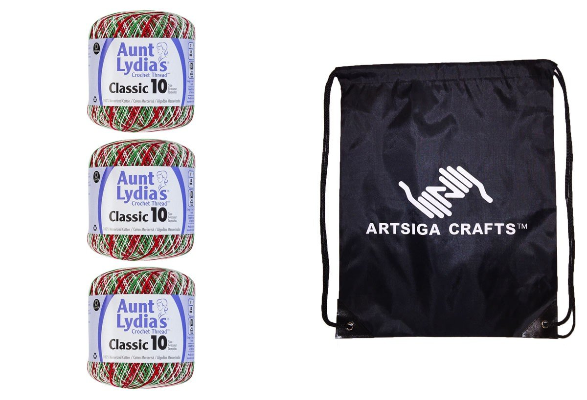 Aunt Lydia's Classic Crochet Thread Size 10 (3-Pack) Shades of Christmas 154-0453 Bundle with 1 Artsiga Crafts Project Bag Coats & Clark 4336923537