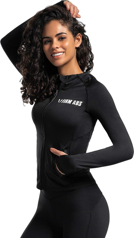 Firm ABS Womens Sports Long Sleeve Shirt Jacket Hood Coat Fitness Running Workout Outdoor Active Wear High Impact Comfort