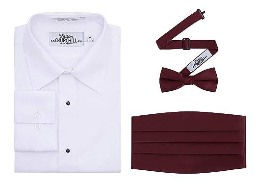 667735d48b0 White No Pleat Tuxedo Shirt, Cummerbund & Bow Tie Set at Amazon ...