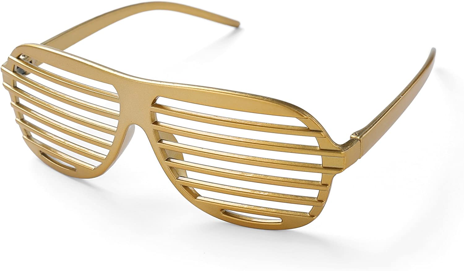 Gold Shutter Shades Fun Novelty Plastic Party Sunglasses Pack of 3