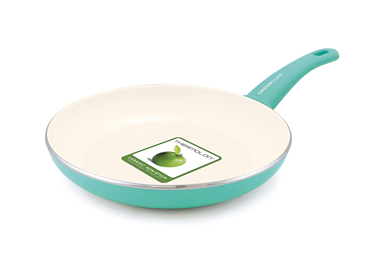 "GreenLife Soft Grip 12"" Ceramic Non-Stick Open Frypan, Turquoise - CW000524-002"