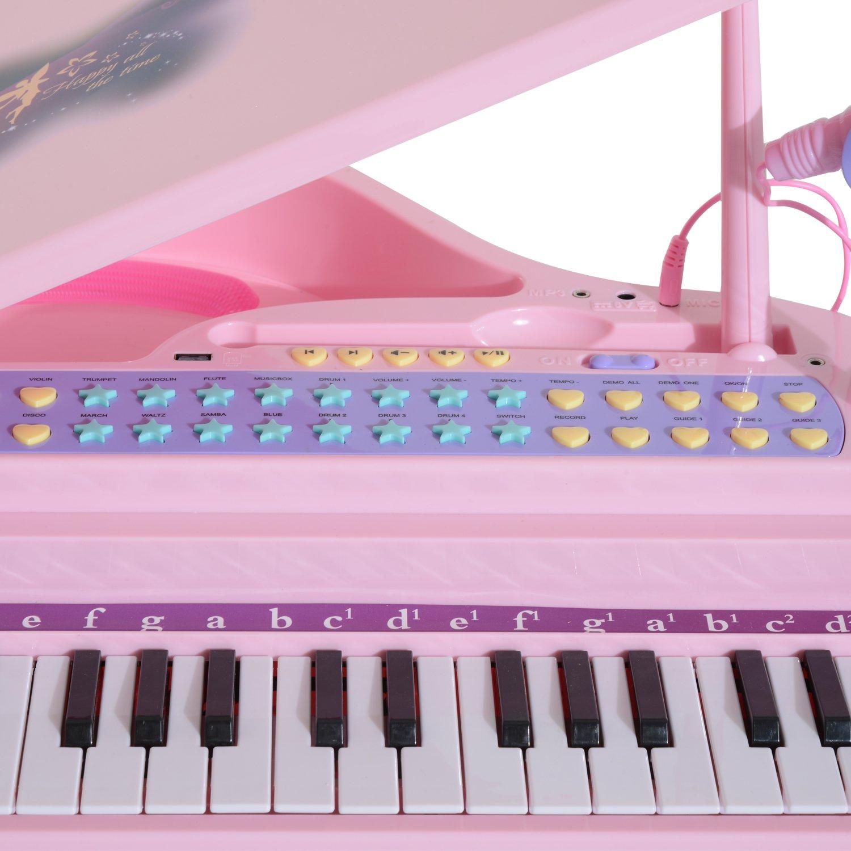 HOMCOM Piano Infantil 37 Teclas Teclado Electrónico Juego de Piano con Micrófono Taburete Luces y 22 Canciones USB/MP3 Karaoke Modo de Enseñanza Rosa: ...