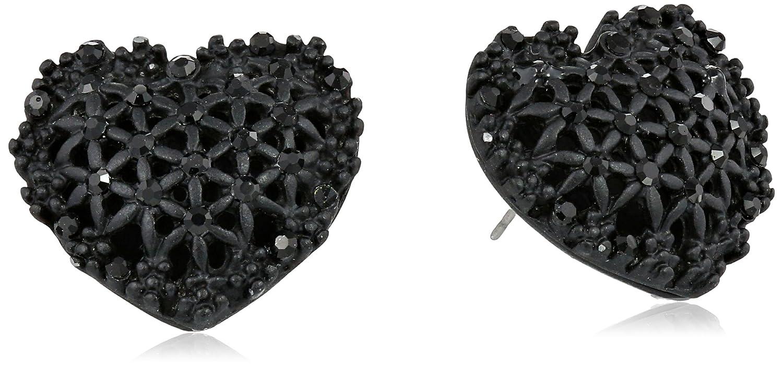 1bb2d99dfe254 Amazon.com: Betsey Johnson Women's Black Hearts Black Heart Button Earrings  Black/Pot Black Stud Earrings: Jewelry