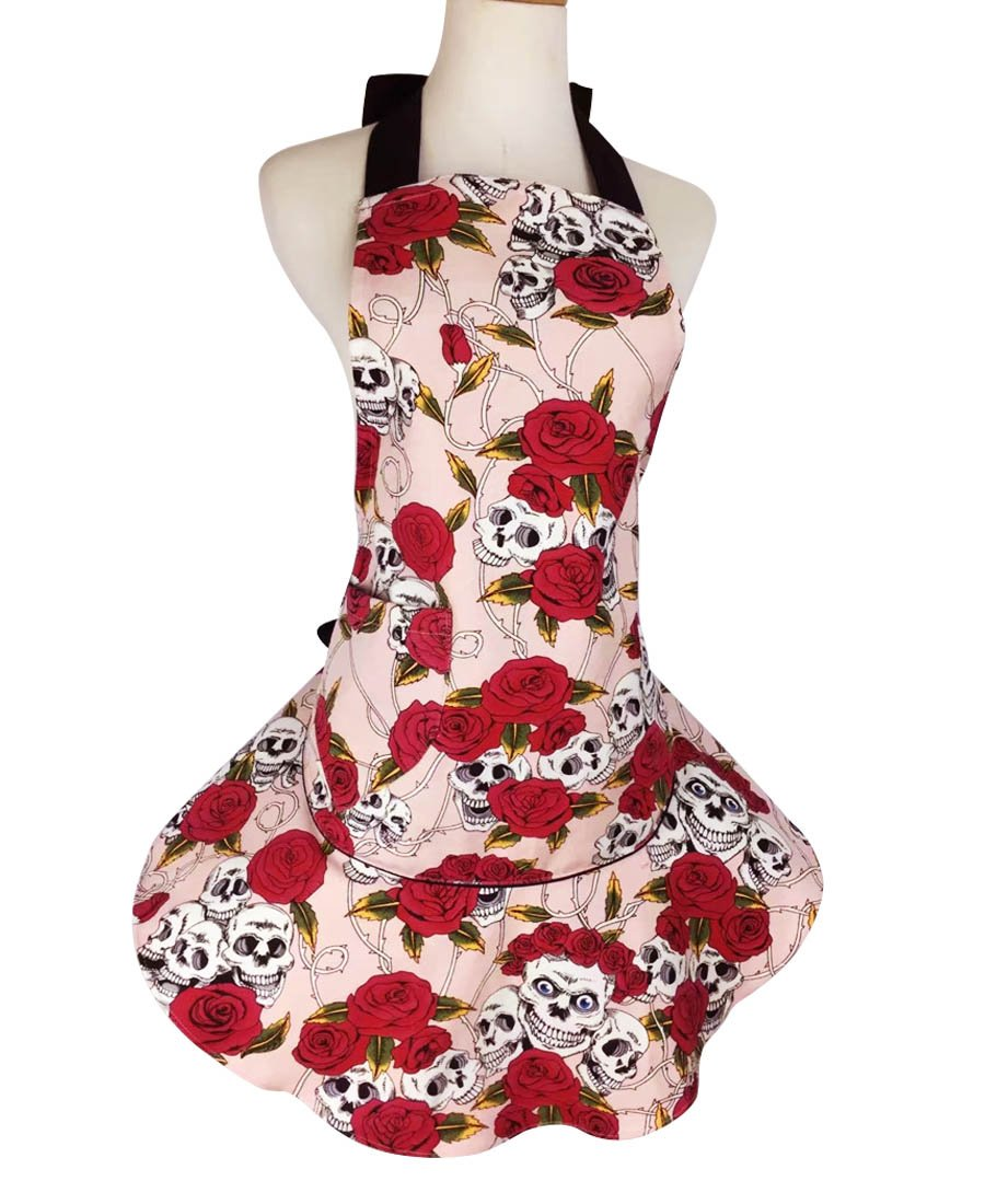 TLY Womens Novelty Halter Tie Floral Skull Skirt Canvas Apron with Pocket, Pink