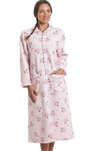 Robe De Chambre Matelassée Fermeture éclair Motif Floral Rose
