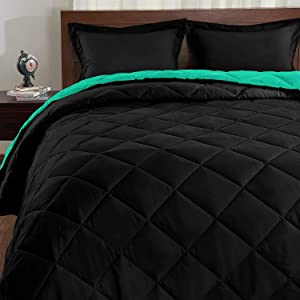 Basic Beyond Down Alternative Mint Leaf/Black Comforter Set Queen - Reversible Bed Comforter with 2 Pillow Shams for All Seasons