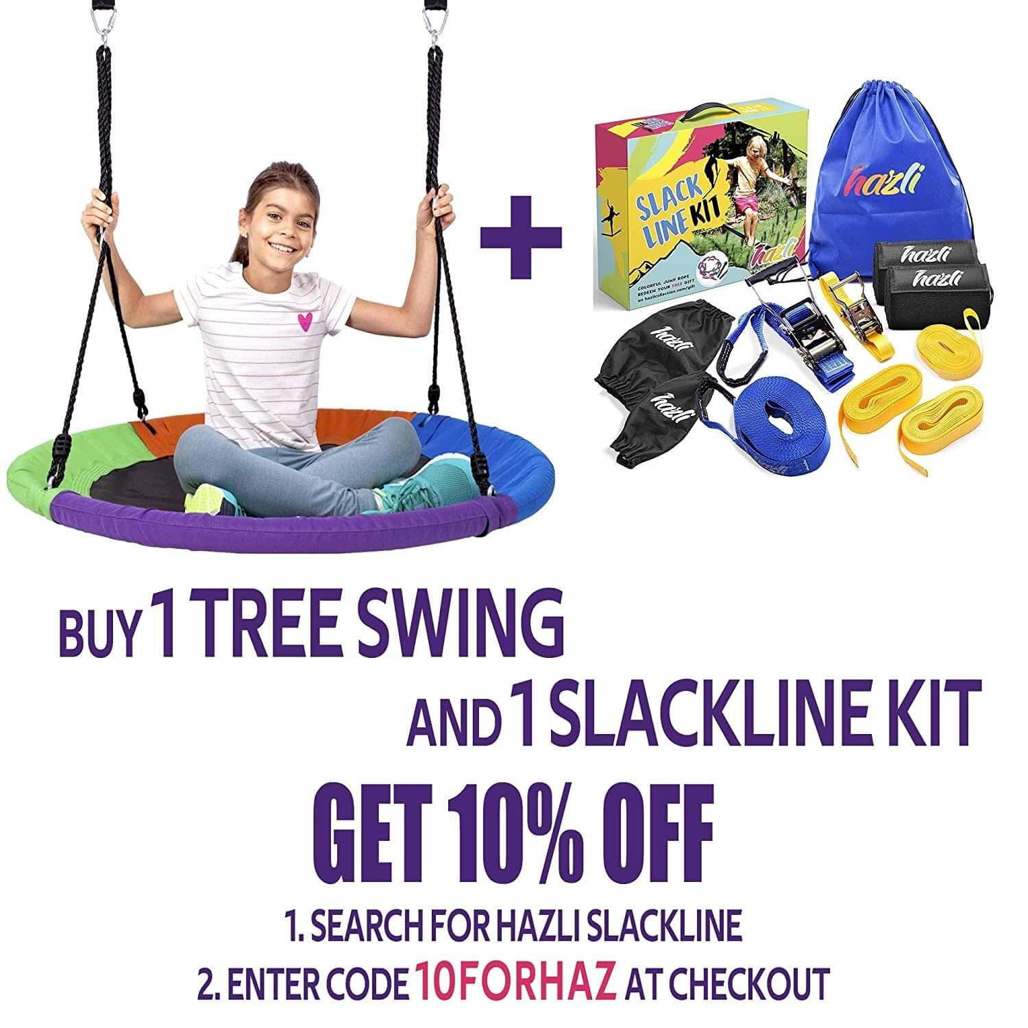 Outdoor Round Tree Swing for Kids - 40'' Saucer Tree Swing for Kids-Large Tree Swings for Children - 400 lbs Tree Swings for Outside with Hanging Kit by Hazli (Image #2)