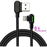 Made for the Game Lightning Cable for Apple- 6 ft 1800mm length 2A Current 90 degree USB AM Reversible Cool Working Indicator Designed for Apple Iphone Ipad Charger