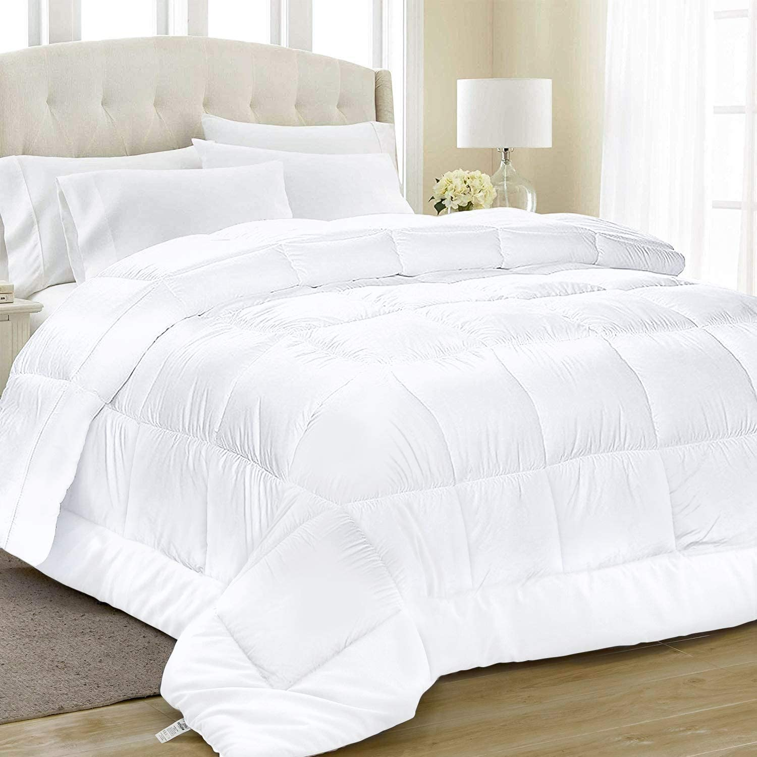 Equinox All-Season White Quilted Comforter - 88 x 88 Inches - Goose Down Alternative Queen Comforter - Duvet Insert Set - Machine Washable - Plush Microfiber Fill (350 GSM): Home & Kitchen