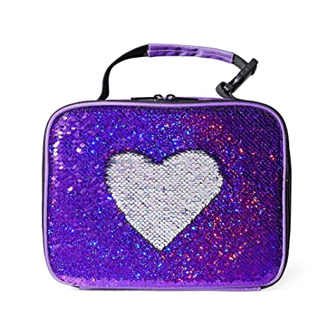 f2f11430d47 Amazon.com: WOYYHO Flip Sequin Lunch Box for Teen Girls, Sparkle Insulated  Lunch Tote Bag (Sparkly Purple/Iridescent Silve): Kitchen & Dining