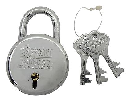 Ryan Locks 50 mm Terminación cromada Doble bloqueo 6 palancas Cerradura de puerta redonda con 3