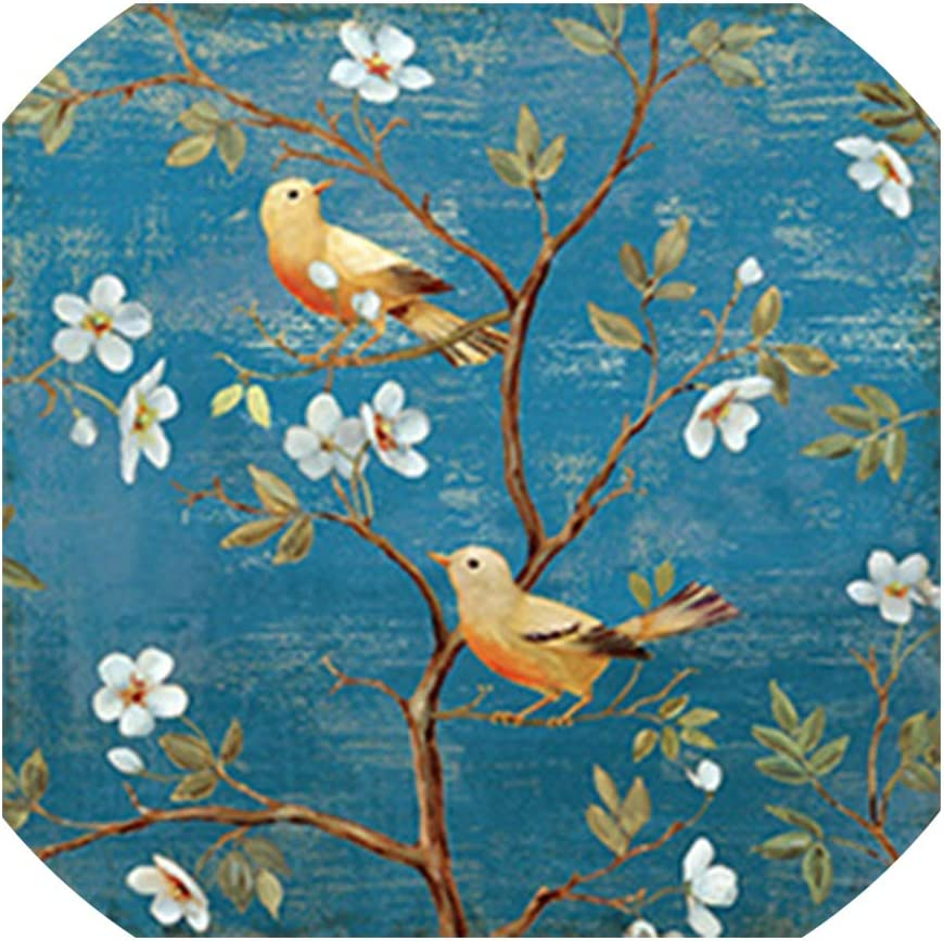 Needlework Diy Cross Stitch,Full Embroidery Kits,Plum Blossom Birdie Patterns Chinese Cross Stitch Printed On Canva,1,11Ct 45X45Cm Cotton