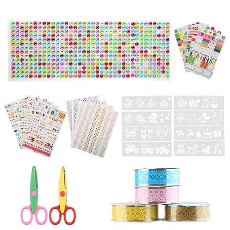 Kit de Album de Fotos de Bricolaje,Tatuer DIY Accesorios Decorativos, Conjunto de Pegatinas de Color, Cintas de Encaje, Cintas Adhesivas, Rincones de ...