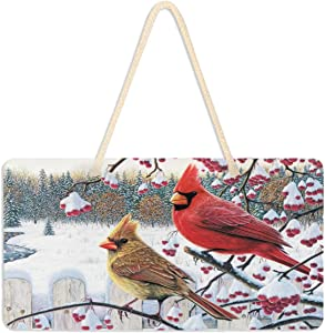 """Vdsrup Winter Snow Cardinals Door Sign Plaque Christmas Holly Berry Welcome Wall Hanging Signs Front Door Decor Home Decorative Door Hanger for Bedroom Porch Yard 6"""" X 11"""""""