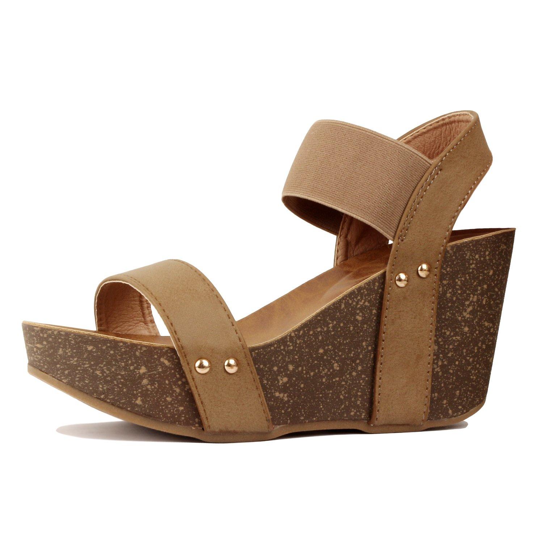 Guilty Heart - Womens Cork Comfort Casual Wide Band Platform Wedge Sandal Platforms & Wedges, Taupe Pu, 8 B(M) US