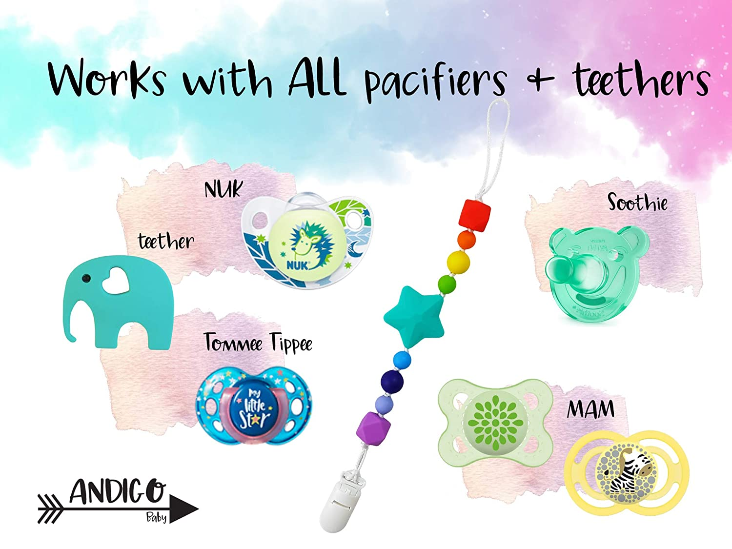 Pacifier Silicone Holder With Clip for Girls and Boys Compatible with MAM by AND.IGO NUK Soothie Tommee Tippee and Other Pacifiers