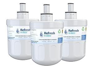 Refresh Replacement for Samsung Aqua-Pure Plus DA29-00003G, DA29-00003A, DA2900002B, DA2900003, DA2900003F, DA290002, HAFCU1, HAFIN2 and Waterdrop WD-DA-29-00003G Refrigerator Water Filter (3 Pack)