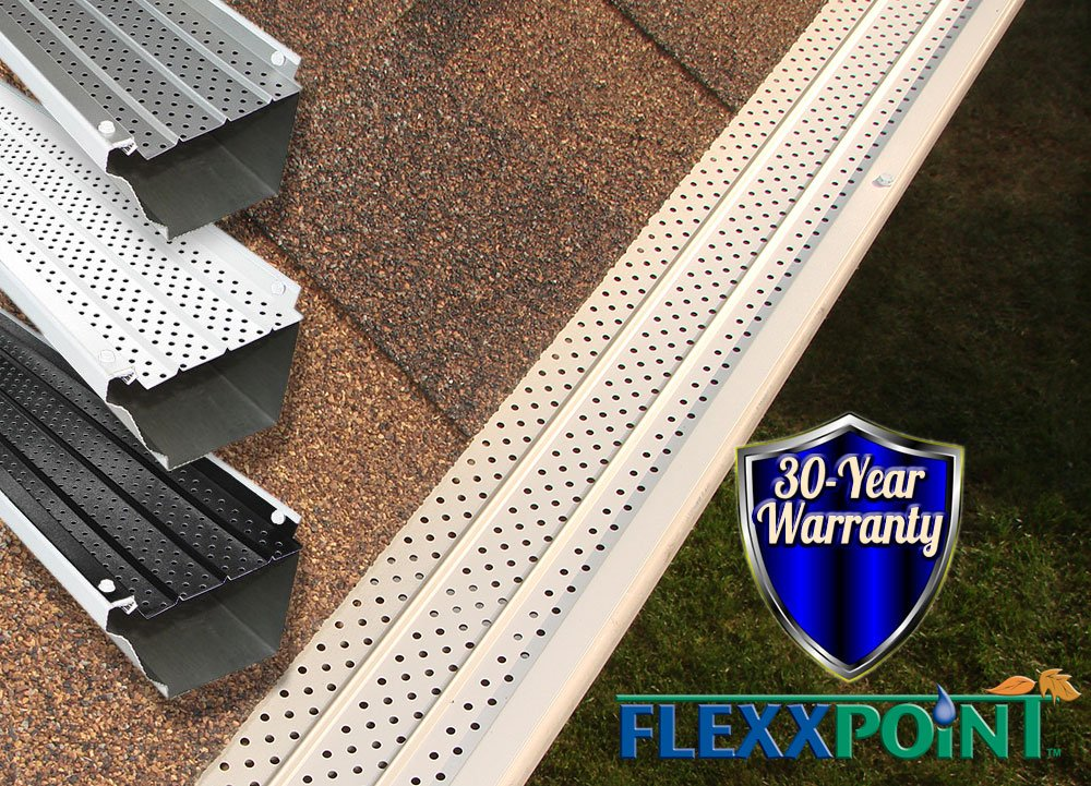 FlexxPoint 30 Year Gutter Cover System, White Residential 5'' Gutter Guards, 200ft