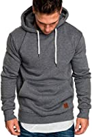 Hoodies for Men, Pervobs Men's Long Sleeve Autumn Solid Pocket Loose Casual Sweatshirt Hoodies Tracksuits