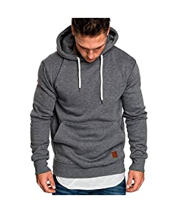 Hoodies for Men, Pervobs Men's Long Sleeve Autumn Solid Pocket Loose Casual Sweatshirt Hoodies Tracksuits(5XL, Dark Gray)