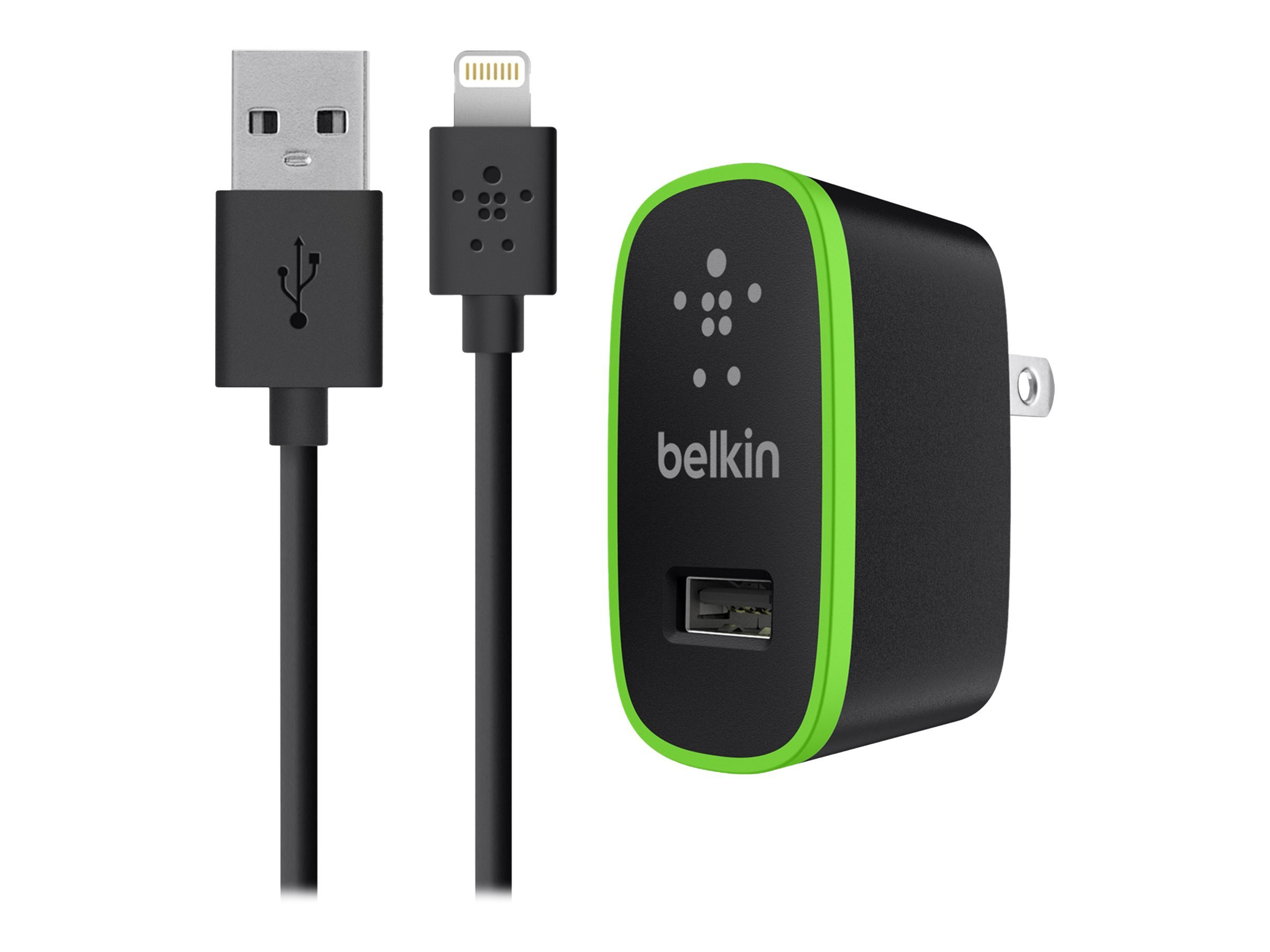 Belkin Apple Certified MIXIT Home Charger with 4-Foot Lightning Cable (2.1 Amp/10 Watt), Black