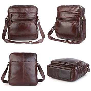 b55a756261 Men s Messenger Bag Genuine Leather Shoulder Bags Vintage Crossbody Purse  Satchel for Hiking Camping Multiple Pockets