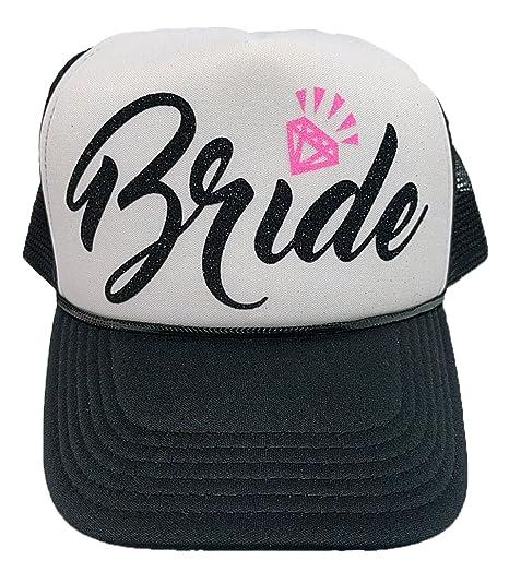 e7fb155bf44 Bachelorette Party Bride Tribe Mesh Trucker Snap Back Hat (Black Hat White  Panel
