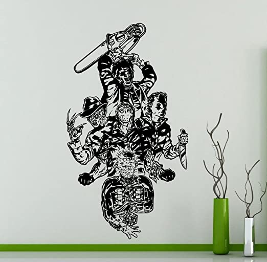 Q875 Girl Bathroom Horror Movie  Smashed Wall Decal 3D Art Stickers Vinyl Room