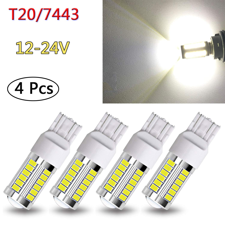 Tail Light Back Up Light Fog Light TORIBIO 12-24V T20 7443 7440 W21W LED Bulbs 5730 Chipsets 33SMD Light Bulb Bright Yellow for Reverse Light Turn Signals Brake Light (pack of 4)