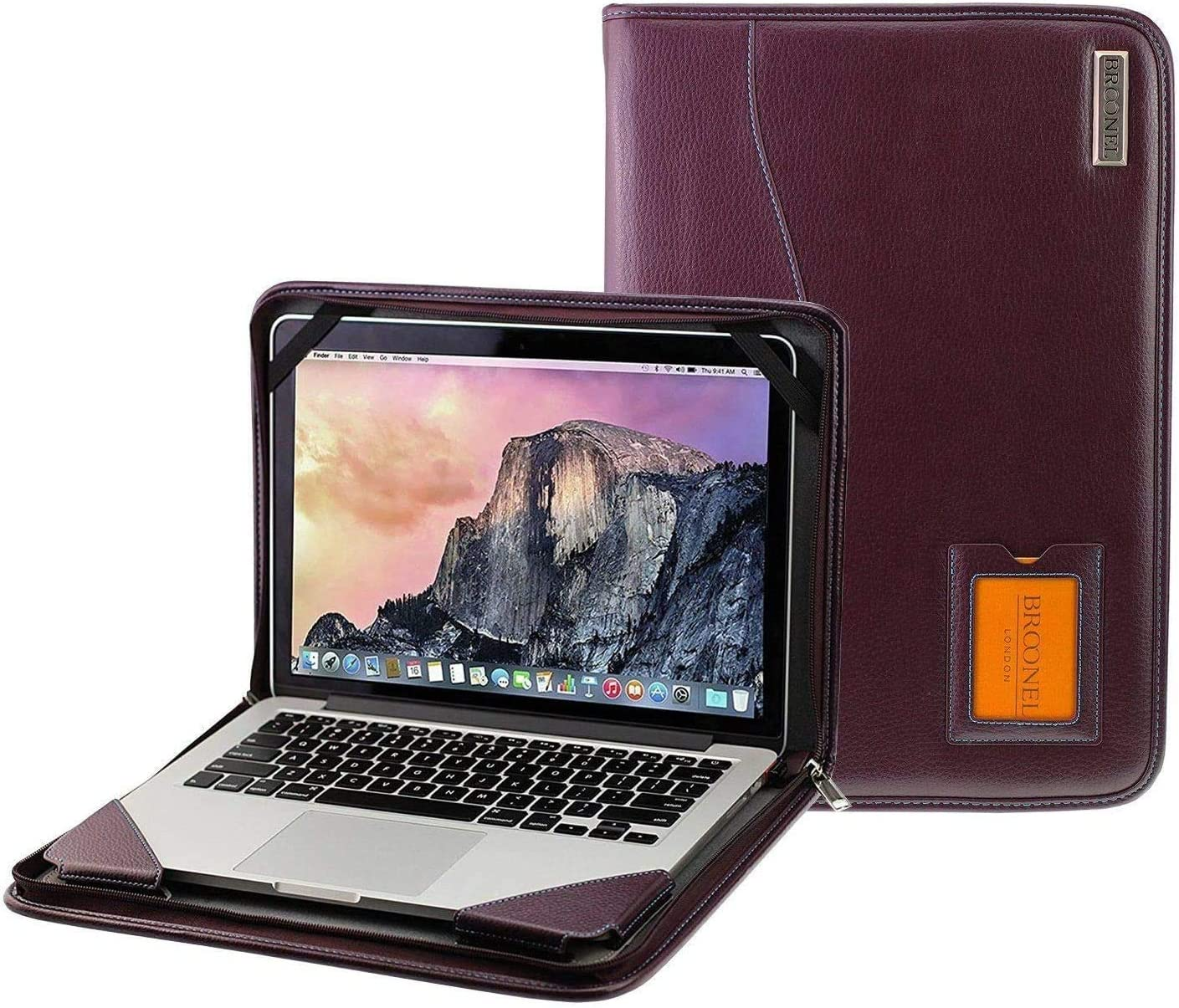 "Broonel - Contour Series - Purple Leather Protective Cover with Shoulder Strap - Compatible with The Dell Latitude 3410 14"" Business Laptop"