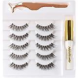 Newcally Natural Wispy Lashes False Eyelashes with Glue Set 5 Pairs Light Volume Fake Eyelashes Handmade Soft Reusable Eye La