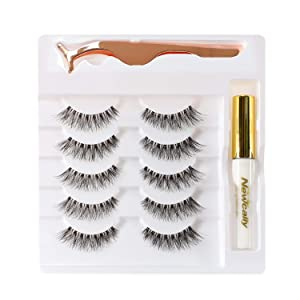 Newcally False Eyelashes Light Volume Soft Natural Lashes 5 Pairs Multipack with Glue and Applicator