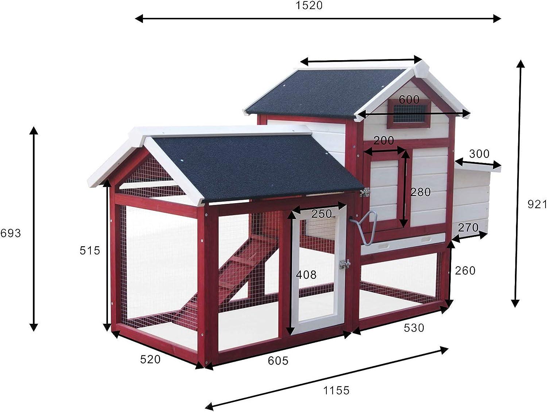 Wiltec H/ühnerstall mit Nistkasten /& Freilauf Haus mit ausziehbarem Boden Grau