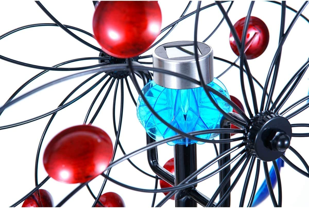 Hourflik Solar Wind Spinner 3d Kinetic Wind Spinners Outdoor Metal Gardening Decorations With Multi Color Led Lighting By Solar Powered Glass Ball With Lawn Ornament Wind Mills Wind Sculptures Spinners