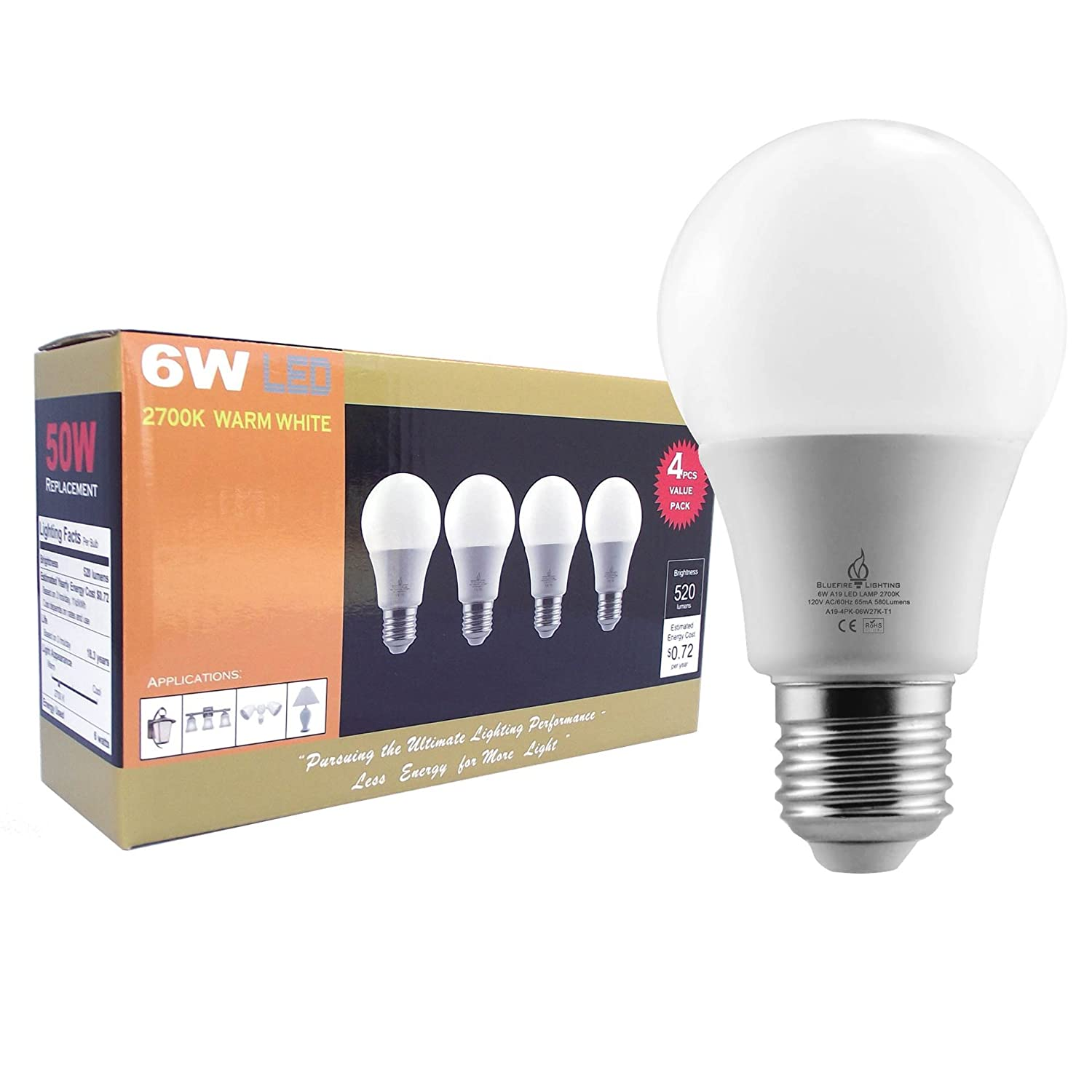 BLUEFIRE 6 Watts A19 LED Light Bulbs, Warm White 2700K, 520 Lumens,  Flickering Free Light, 40W Replacement   4PCS Value Pack, Best For Bathroom  Vanity ...