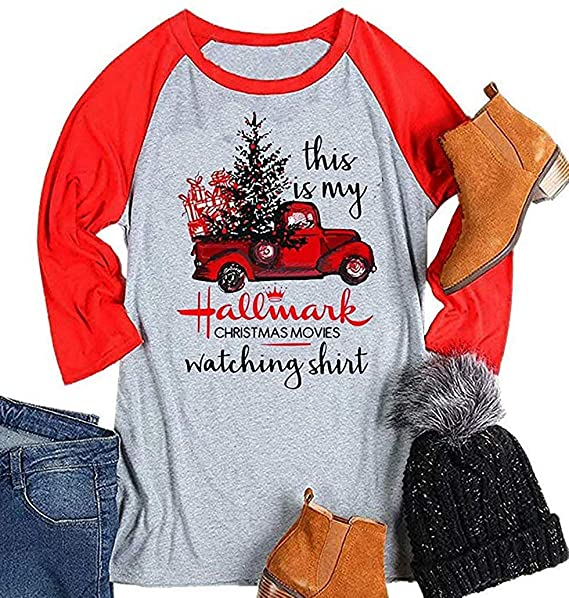 e69c2e7e3 Enmeng Womens Raglan Hallmark Christmas Shirt 3/4 Sleeve Baseball Graphic  Tees (S,