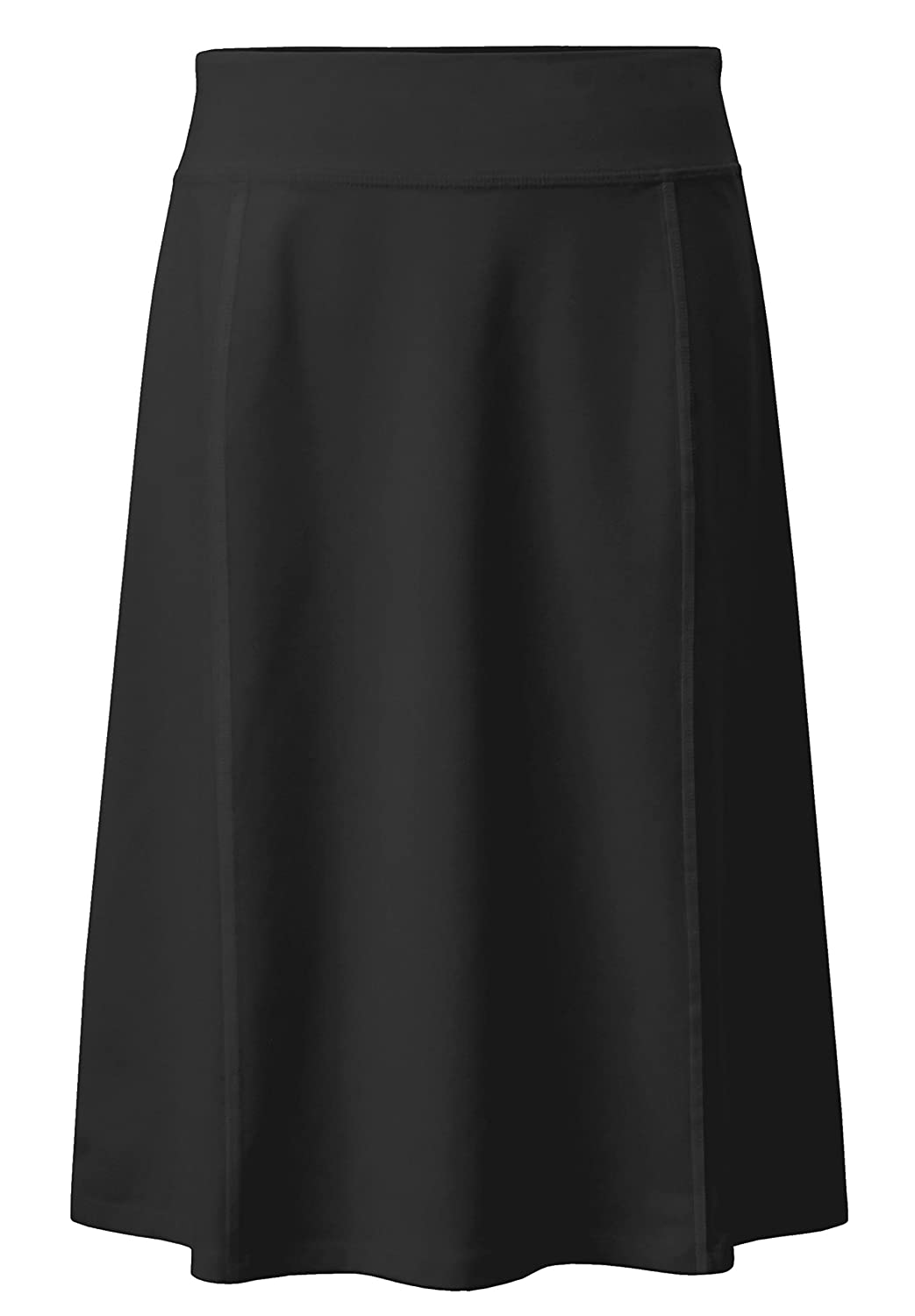 Black Large BabyO Girls Stretch Cotton Knit Panel Below The Knee Length A-Line Skirt Childrens