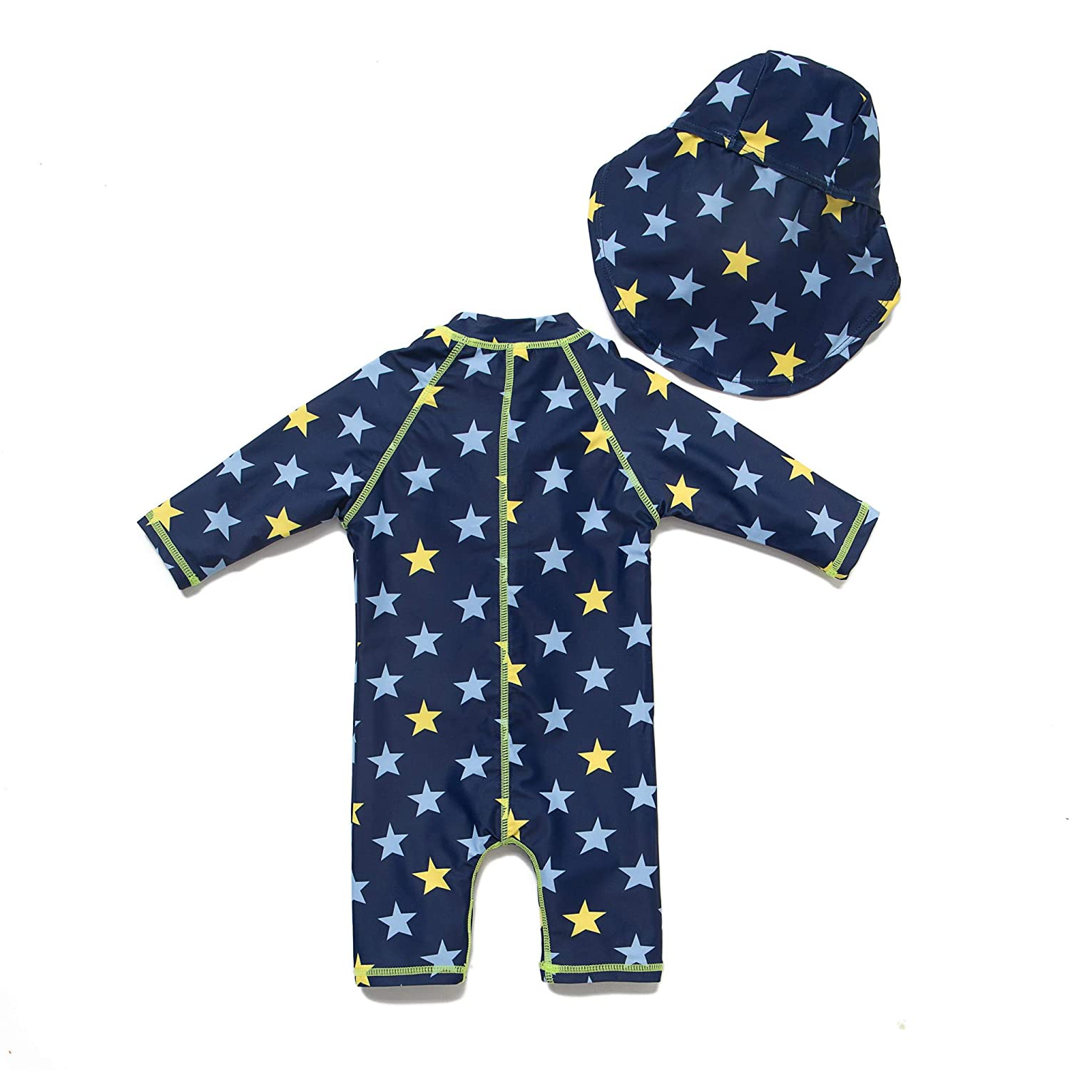 Baby Boys Sunsuit UPF 50 Navy,6-9Months Sun Protection All in One with Zipper Swimwear with Sun Hat