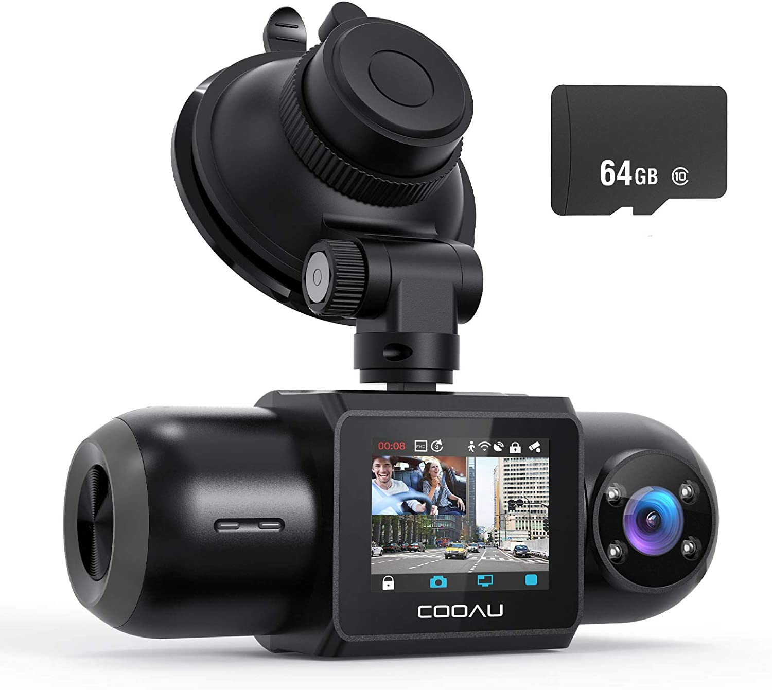 Dual Dash Cam, 64GB SD Card Included, 1080P FHD Built-in GPS Wi-Fi , Front and Inside Car Camera Recorder for Uber with Infrared Night Vision, Sony Sensor, 4 IR LEDs,G-Sensor, Parking Mode